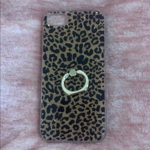 iphone case with pop socket leopard cheetah gold